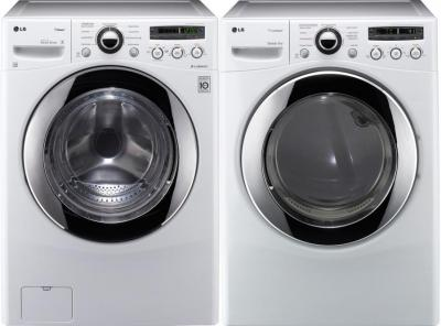 LG WM2650HWA 3.6 cu. ft. Front Load SteamWasher / DLEX2650W 7.3 Cu. Ft. Electric Steam Dryer-White