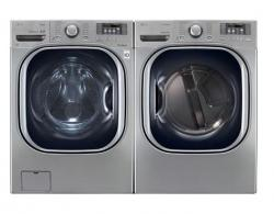 LG WM4070HVA 4.3 CU. FT. ULTRA LARGE CAPACITY TURBOWASH STEAM WASHER / DLEX4070V 7.4 Cu. Ft. Electric Steam Dryer-Graphite Steel Factory Refurbished.