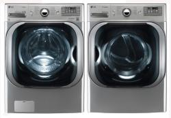 LG WM8000HVA 5.2 cu. ft. Mega Capacity TurboWash Washer / DLEX8000V 9.0 Cu. Ft. Electric Steam Dryer Set -Graphite Steel Factory Refurbished