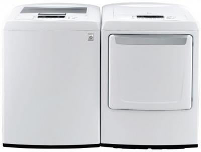LG WT1101CW 4.3 cu. ft. Top Load Washer / DLE1101W 7.3 Cu. Ft. Electric Front Control Dryer-White Factory Refurbished.