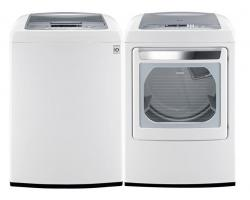 LG WT1201CW 4.5 cu. ft.Top Load Front Control Washer / DLEY1201W 7.3 Cu. Ft. Electric Dryer-White Factory Refurbished