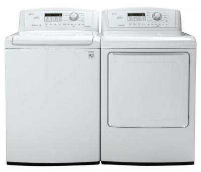 LG WT4870CW 4.5 cu. ft. Top Load Washer W/ Coldwash / DLE4870W 7.3 Cu. Ft. Electric Dryer-White Factory Refurbished.