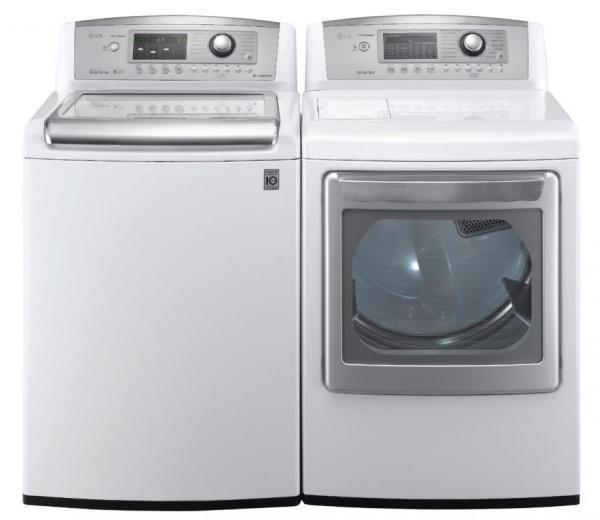 Lg Wt5170hw 4 7 Cu Ft Top Load Washer W Waveforce Coldwash Dlex5170w 3 Steam Electric Dryer White Factory Refurbished