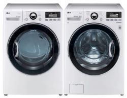 LG WM3470HWA 4.0 cu. ft. Front Load Washer 12 Washing Program, Coldwash/SteamFresh/Allergen Cycle / DLGX3471W 7.3 Cu. Ft. Gas Dryer Set Factory Refurbished