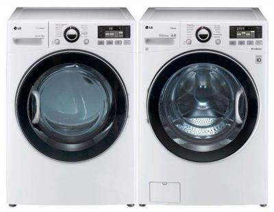LG WM3470HWA 4.0 cu. ft. Front Load Washer 12 Washing Program, Coldwash/SteamFresh/Allergen Cycle / DLGX3471W 7.3 Cu. Ft. Gas Dryer Set Factory Refurbished