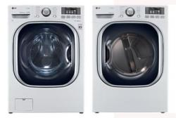 LG WM4070HWA 4.3 cu. ft. Ultra Large Capacity TurboWash Washer / DLGX4071W 7.4 Cu. Ft. Gas Steam Dryer-White Factory Refurbished.