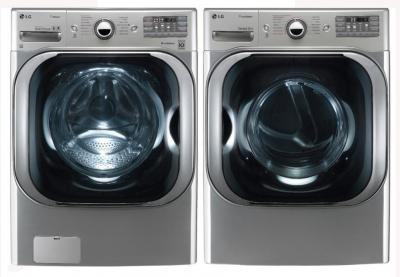 LG WM8000HVA 5.2 cu. ft. Mega Capacity TurboWash Washer / DLGX8001V 9.0 Cu. Ft. Gas Steam Dryer Set -Graphite Steel Factory Refurbished.