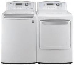 LG WT4901CW 4.7 cu. ft.Top Load Washer W/ WaveForce, ColdWash / DLG4902W 7.3 Cu. Ft. Gas Dryer-White