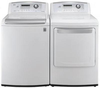 LG WT4901CW 4.7 cu. ft.Top Load Washer W/ WaveForce, ColdWash / DLG4902W 7.3 Cu. Ft. Gas Dryer-White