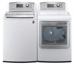 LG WT5070CW 4.7 cu. ft. Top Load Washer W/ Waveforce, Coldwash / DLGX5171W 7.3 Cu. Ft. Gas Steam Dryer-White Factory Refurbished.