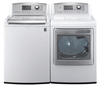 LG WT5070CW 4.7 cu. ft. Top Load Washer W/ Waveforce, Coldwash / DLGX5171W 7.3 Cu. Ft. Gas Steam Dryer-White Factory Refurbished.