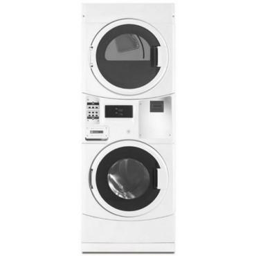 Maytag MLE20PRBYW Commercial Energy Advantage Electric Stack Washer/Dryer-White-220 volts 60Hz