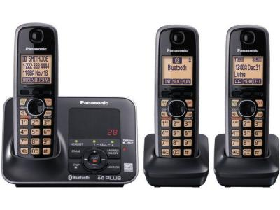 Panasonic KX-TG7623B three handset cordless phone  220-240 volts 50/60 hz