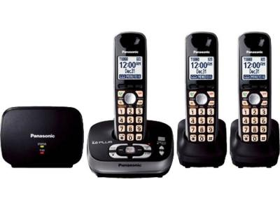 Panasonic kx-tg4053b three handset cordless phone 220-240 volts 50/60 hz