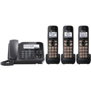Panasonic KX-TG4773B 1 Corded, 3 Cordless Handsets 110-220 volts