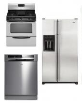 WHIRLPOOL KITCHEN APPLIANCES STAINLESS STEEL SET OF REFRIGERATOR DISHWASHER WITH GAS RANGE 220-240 VOLTS 50HZ PACKAGE 3