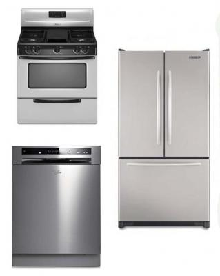 WHIRLPOOL KITCHEN APPLIANCES STAINLESS STEEL SET OF REFRIGERATOR DISHWASHER WITH GAS RANGE 220-240 VOLTS 50HZ PACKAGE 4