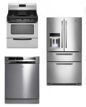 WHIRLPOOL KITCHEN APPLIANCES STAINLESS STEEL SET OF REFRIGERATOR DISHWASHER WITH GAS RANGE 220-240 VOLTS 50HZ PACKAGE 5