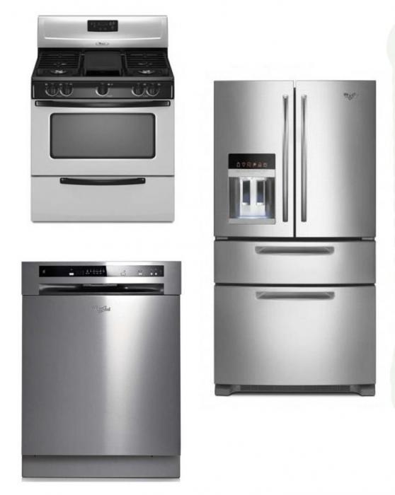 whirlpool kitchen appliances stainless steel set of refrigerator dishwasher with gas range. Black Bedroom Furniture Sets. Home Design Ideas