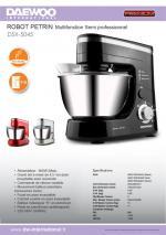 Daewoo DSX-5045 4.5 Quart Semi Professional Stand Mixer NOT FOR USA 220 VOLTS