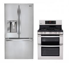 LG LFX31925ST, LDG3036ST Refrigerator and Gas Double Oven Range Set FACTORY REFURBISHED (ONLY FOR USA)
