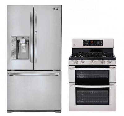 LG LFX31945ST, LDG3036ST Refrigerator and Gas Double Oven Range Set FACTORY REFURBISHED (ONLY FOR USA)