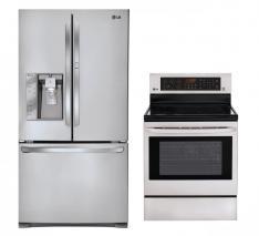 LG LFX31945ST, LRE3083ST Door-in-Door Refrigerator and Oven Range Set FACTORY REFURBISHED (FOR USA)