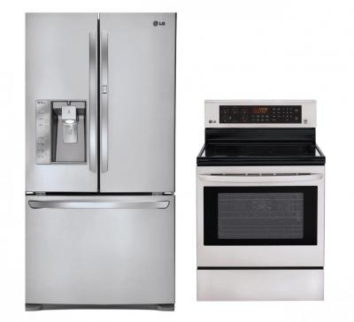 LG LFX31945ST, LRE3083ST Door-in-Door Refrigerator and Oven Range Set FACTORY REFURBISHED (FOR USA)