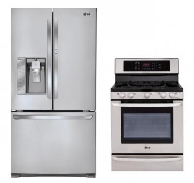 LG LFX31945ST, LRG3095ST Refrigerator and Gas Oven Range Set  FACTORY REFURBISHED FOR USA