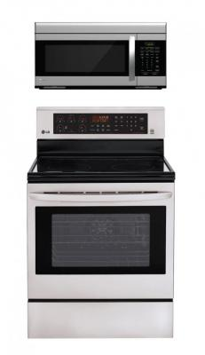 LG LRE3083ST, LMV1683ST Oven Range & Over the Range Microwave Set FACTORY REFURBISHED (FOR USA)