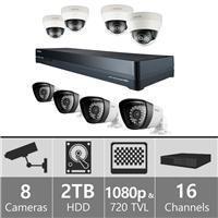 Samsung  SDH-P5081D 16ch Hybrid Pack w/ 4 HD Dome Cameras 110-220 volts