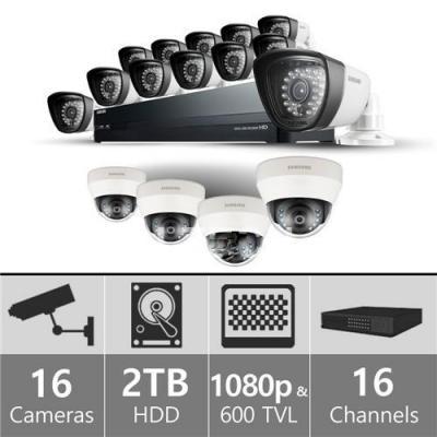 Samsung  SDH-P5081SDD - 16ch Hybrid Pack w/ 4 HD Dome & 12 SD Bullet 110-220 volts