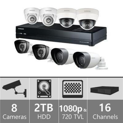 Samsung SDH-P5081HH - 16ch Hybrid Variety Pack w/ 4 HD & 4 SD Cameras 110-220 volts