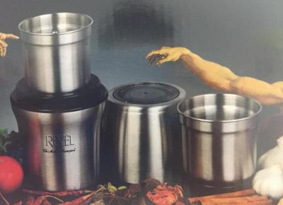 Revel CCM103 Stainless Steel Wet and Dry Coffee/Spice/Chutney Grinder with Two Bowls, Silver for 110 volts