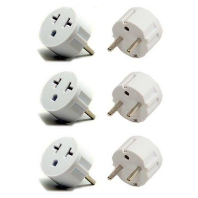 Heavy Duty Grounded USA American 6PKSCHUKO  to European German Schuko Outlet Plug Adapter - 6 Pack.