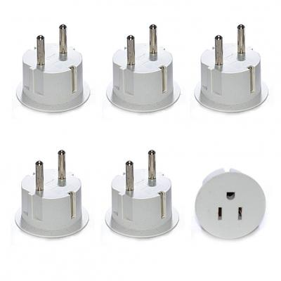 American USA To European Schuko Germany Plug Adapters CE Certified Heavy Duty - 6 Pack.