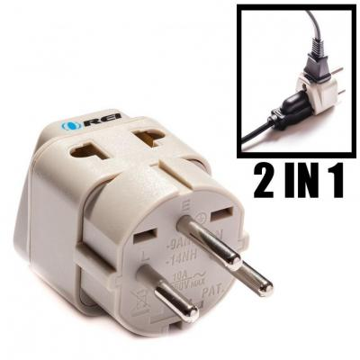 Grounded Universal 2 in 1 Plug Adapter Type H for Israel & more - High Quality - CE Certified - RoHS Compliant WP-H-GN