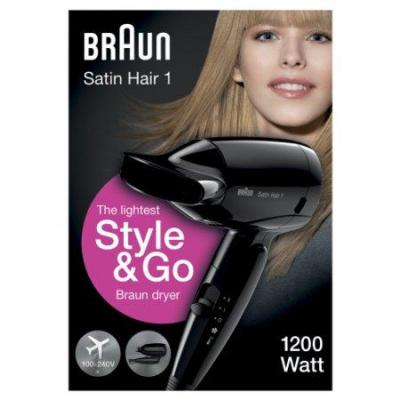 Braun HD130 Satin Hair 1 Style and Go 1200-Watt Dryer 110-220-240V (Worldwide use