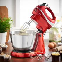 VonShef 13230 Two-in-One Hand/Stand Mixer for 220 Volts and 50hz | Red