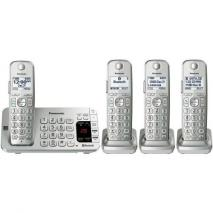 Panasonic KX-TGE474S Linc2Cell DECT 6.0 Expandable Cordless Phone System with Digital Answering System - Silver 110-220 VOLTS