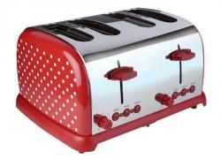 Kalorik TO36267 Kitchen Originals Classic 4-Slice Polka Dot Stainless Steel Toaster, Red/White 220 NOT FOR USA