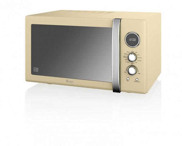 SWAN SM22080CN RETRO DIGITAL COMBI MICROWAVE WITH OVEN AND GRILL, 25 LITRE,  900 W, CREAM [ENERGY CLASS E] 220 VOLTS NOT FOR USA