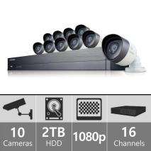 SAMSUNG C75100REF 16 CHANNEL 1080P HD 2TB SECURITY SYSTEM WITH 10 CAMERAS (REFURBISHED) 110-220 VOLTS