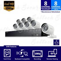 SAMSUNG B74081-1TBREF - 8 CHANNEL 1080 FULL HD HD VIDEO SECURITY SYSTEM WITH 8 OUTDOOR CAMERAS (REFURBISHED)110-220 VOLTS