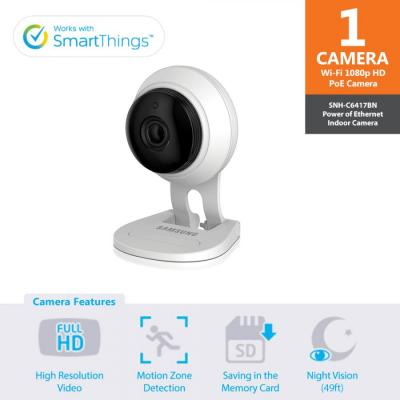 SAMSUNG C6417BN WISENET SMARTCLOUD COMPATIBLE HD PLUS WIFI IP CAMERA 110-220 VOLTS
