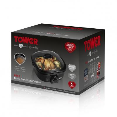 Tower T14003 8-in-1 Multi Function Cooker, 1300 W, 5 Liters - Black 220 VOLTS NOT FOR USA