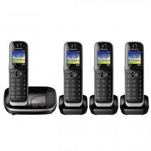 Panasonic KX-TGJ324EB Quad Handset Cordless Home Phone with Nuisance Call Blocker - Black 220 VOLTS NOT FOR USA