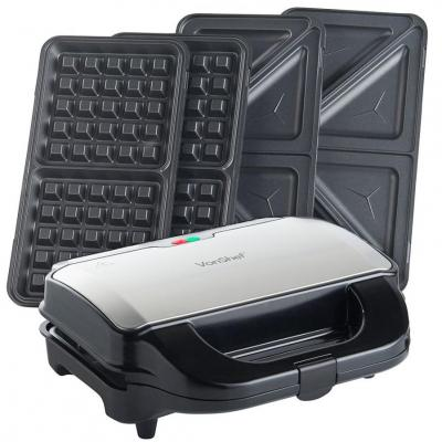 Vonshef 13177 Two-in-One 2-Slice Sandwich and Waffle Maker - 800W, 220 Volts not for usa