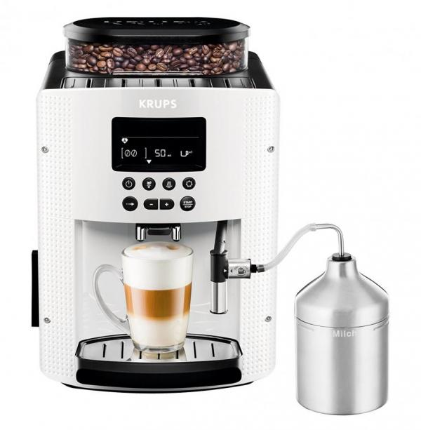 Krups Ea8161 Automatic Coffee Machine 1 8 L 15 Bar Autocuccino System Lc Display White 220 Volts Not For Usa
