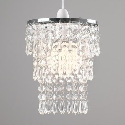 MiniSun 1215 Beautiful Modern Chrome Chandelier Pendant Shade With Stunning Clear Acrylic Jewel Droplets 220 VOLTS NOT FOR USA